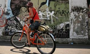 Berlin Wall cyclist